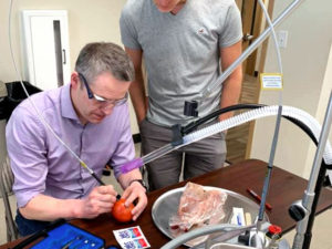 Hands-on laser training at a continuing education course.